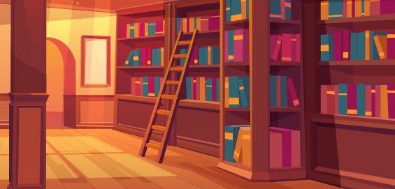 Library interior, empty room for reading with books on wooden shelves, ladder, glass window on roof with falling sun rays. Cozy place for litareture collection, athenaeum Cartoon vector illustration